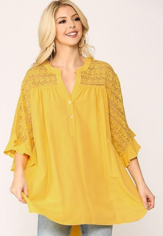Sunshine Top Mesh Lace - Yellow Mango