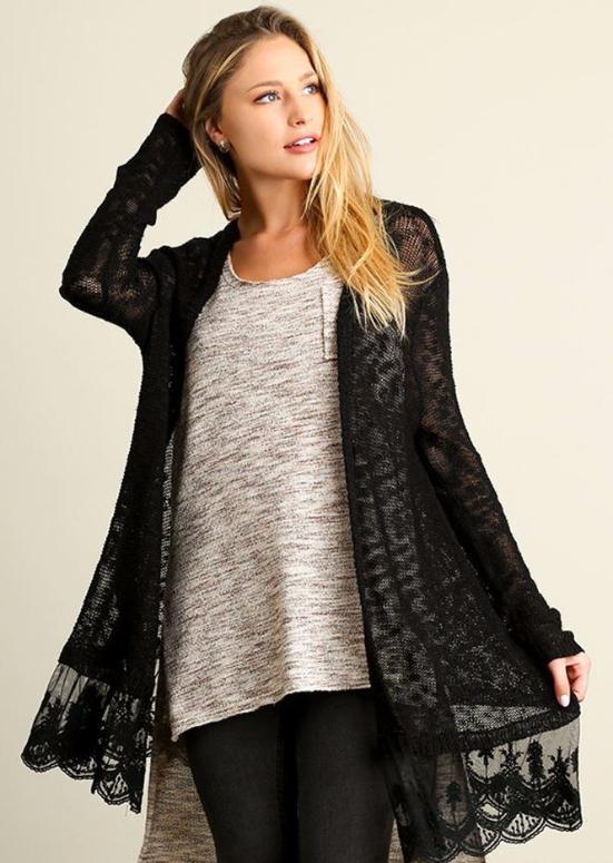 Umgee Cardigan Lace Hem - Black/Forest Green