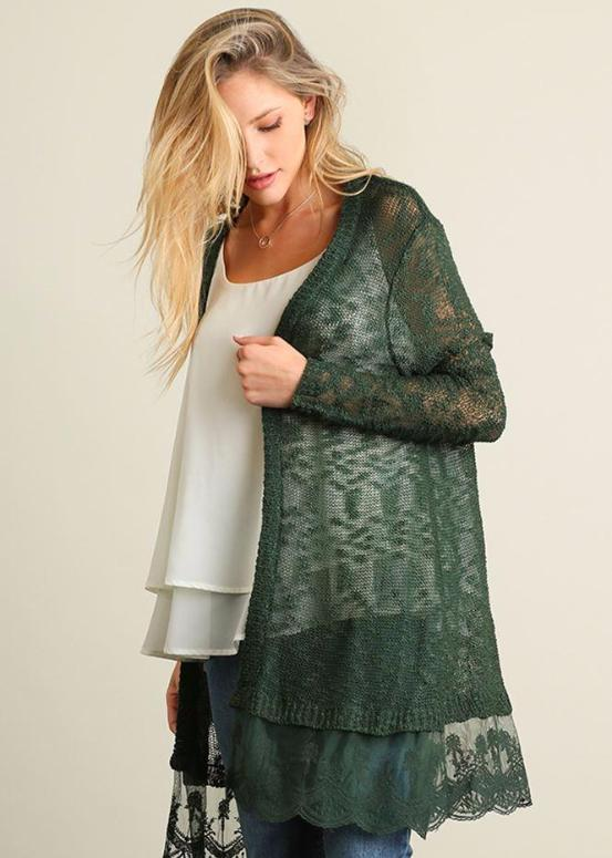Umgee Knit Cardigan Sweater Lace Hem - Black or Forest Green