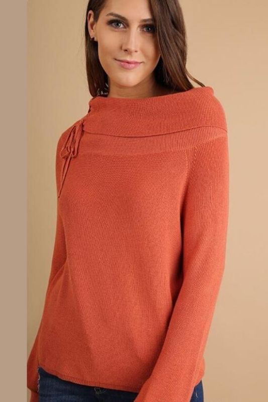 Umgee Knit Sweater Top -Drawstring Neckline - Canyon Clay