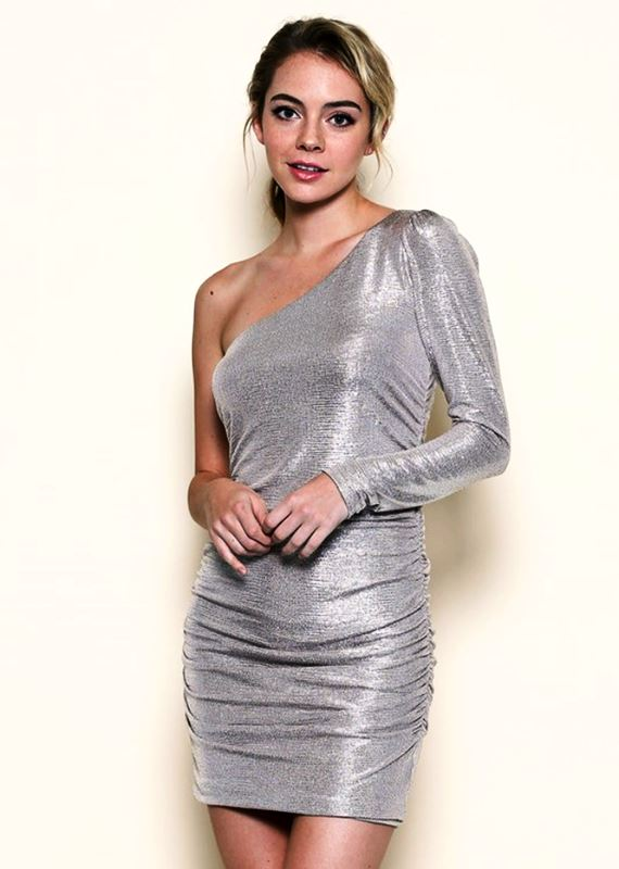 Solemio Silver One Sleeve Dress