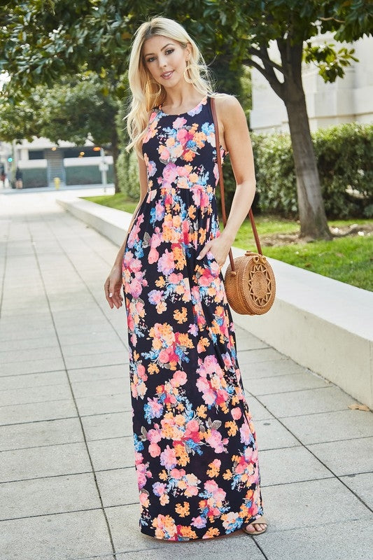 Linda Neon Floral Maxi Dress - Dark Navy
