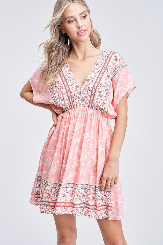 Sweet Tea Print Dress - Coral