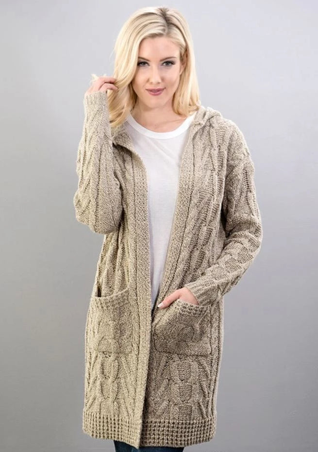 Double Knit Hooded Sweater Cardigan - Taupe