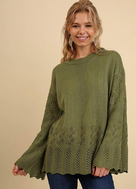 Umgee Bell Sleeve Crochet Sweater Top - Olive