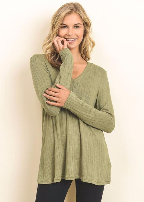 Doe & Rae Crisscross Grommet Top - Avocado or Taupe