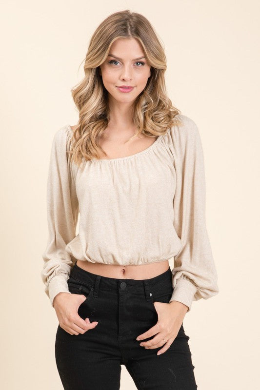 Lumiere Casual Crop Top - Oatmeal