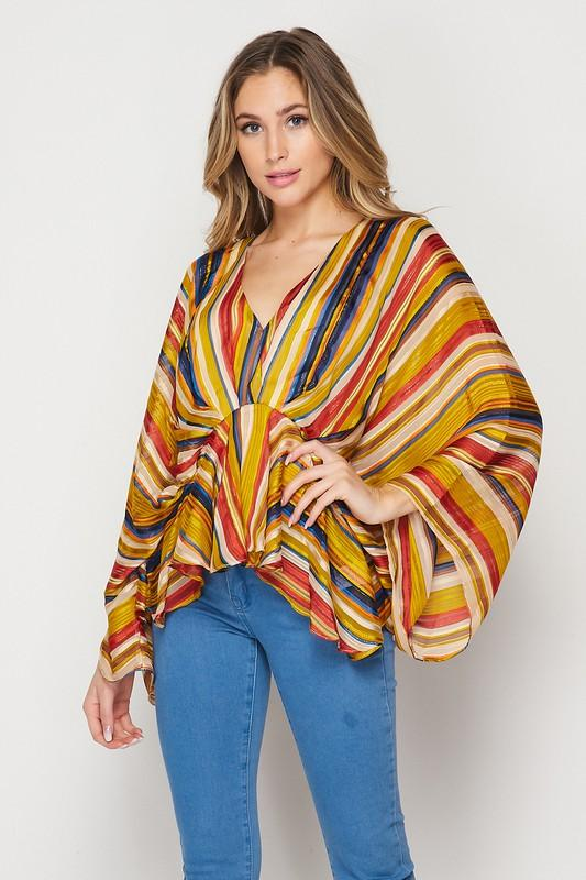 Leandra Boho Striped Blouse - Mustard