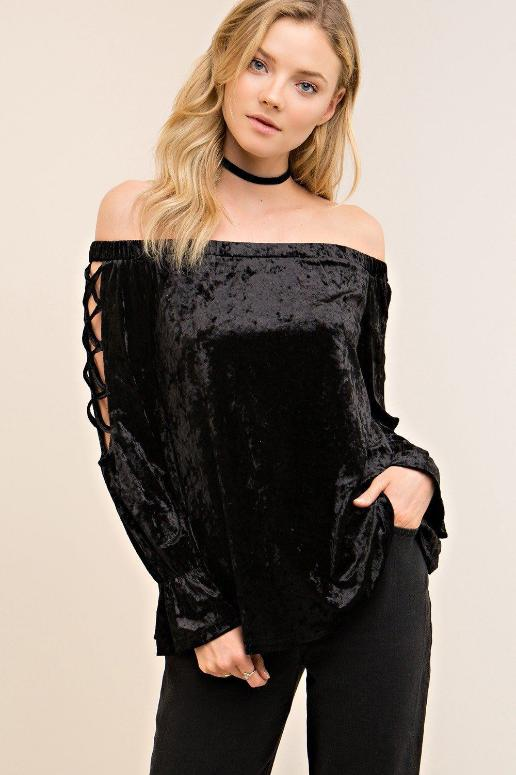 Entro Strappy Sleeve Velvet Off Shoulder Top - Black