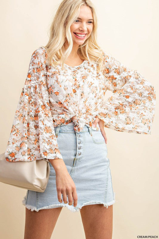 Romantic Lace Blouse - Cream/Peach