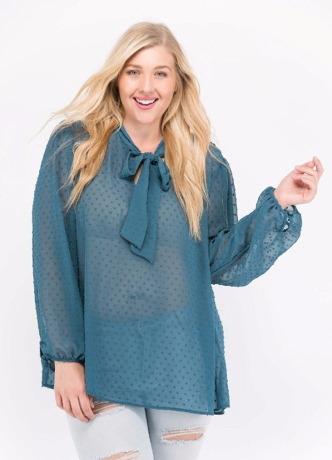 Janette Plus Bow Tie Swiss Dot Blouse - Teal