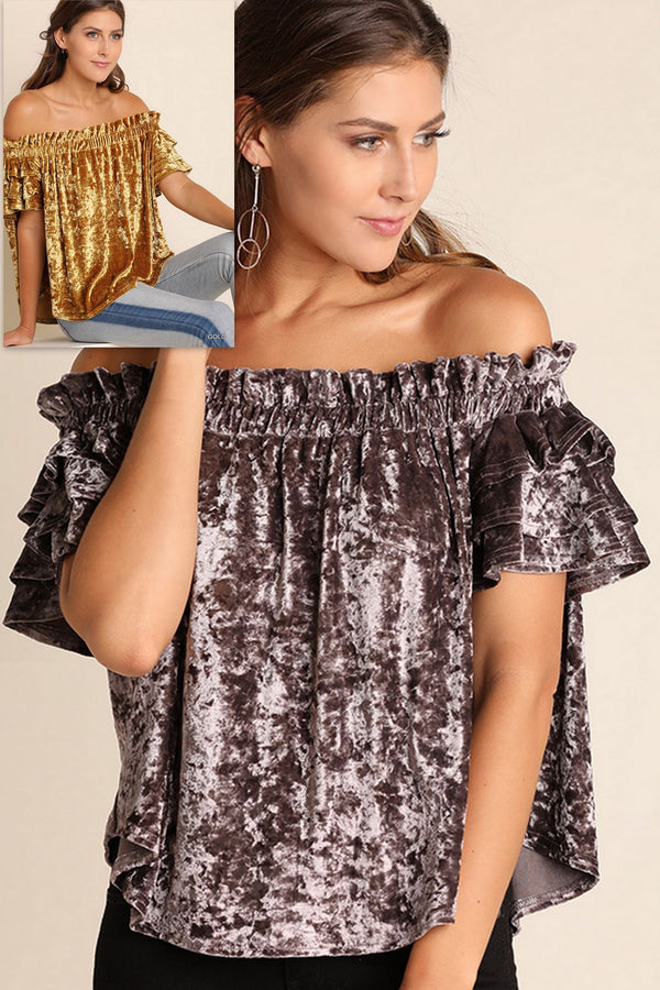 Umgee Layer Sleeve Velvet Off Shoulder Top - Gold or Titanium