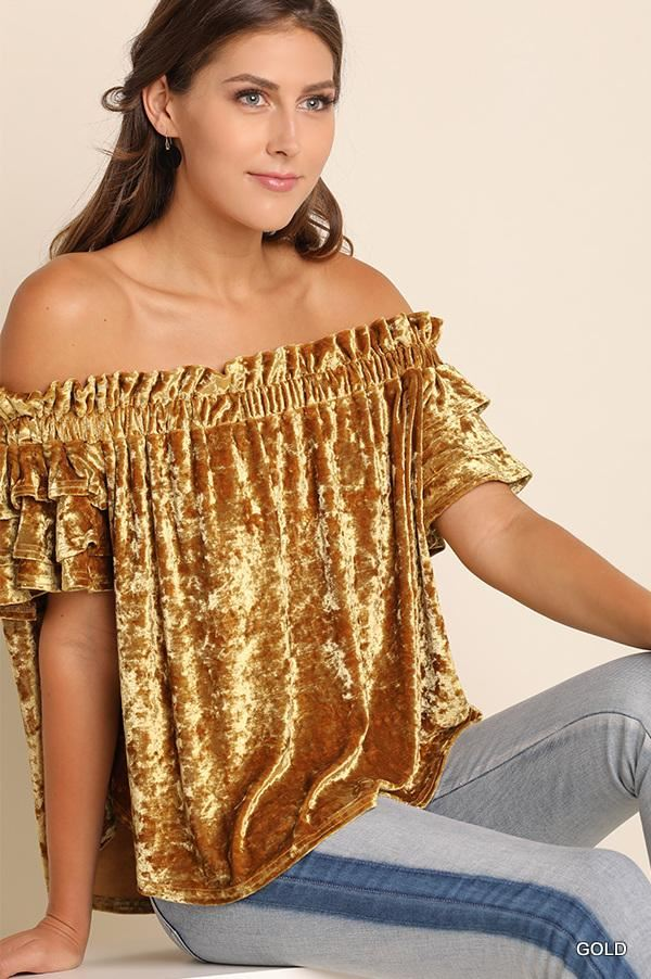 Umgee Layer Sleeve Velvet Top - Gold or Titanium