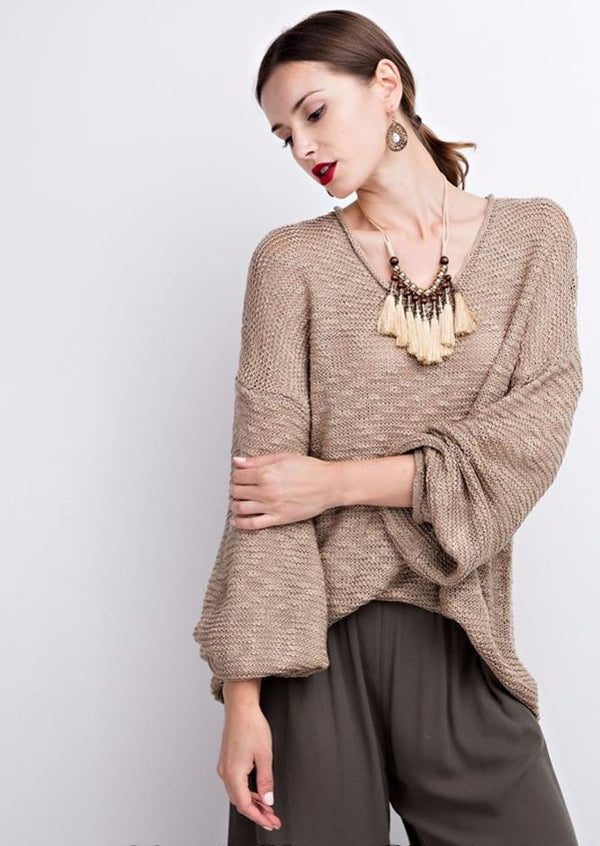 Easel Chunky Knit Sweater - Mushroom