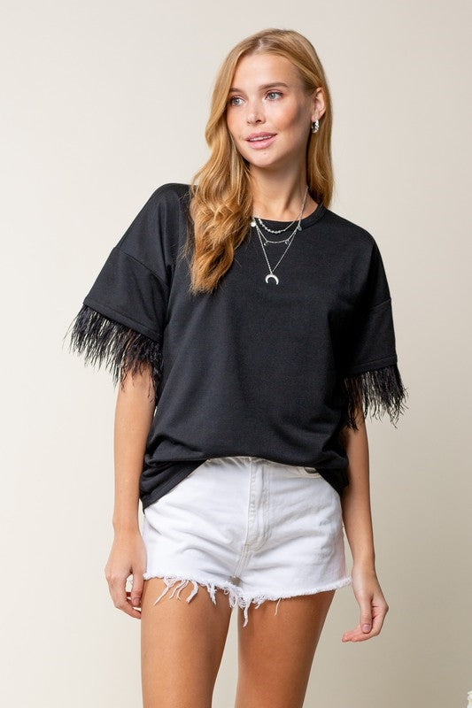 Feather Sleeve Top - Black