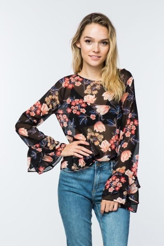 Timing Sheer Floral Ruffle Blouse - Black