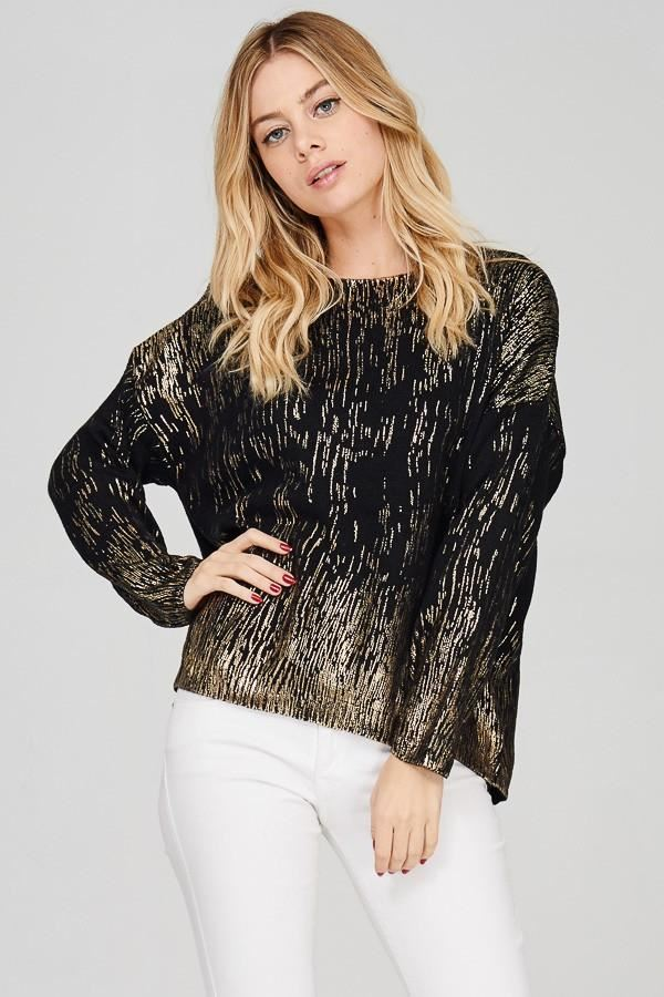 Gold Foil Print Sweater - Black