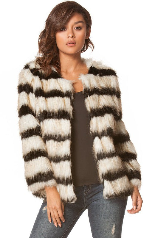 Carmin Striped Furry Jacket - Black Soft White