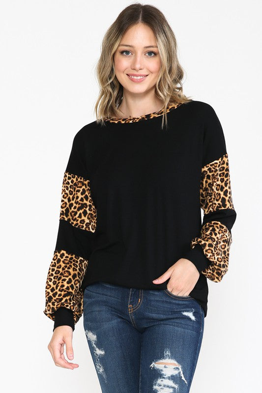 Black Leopard Sleeve Top