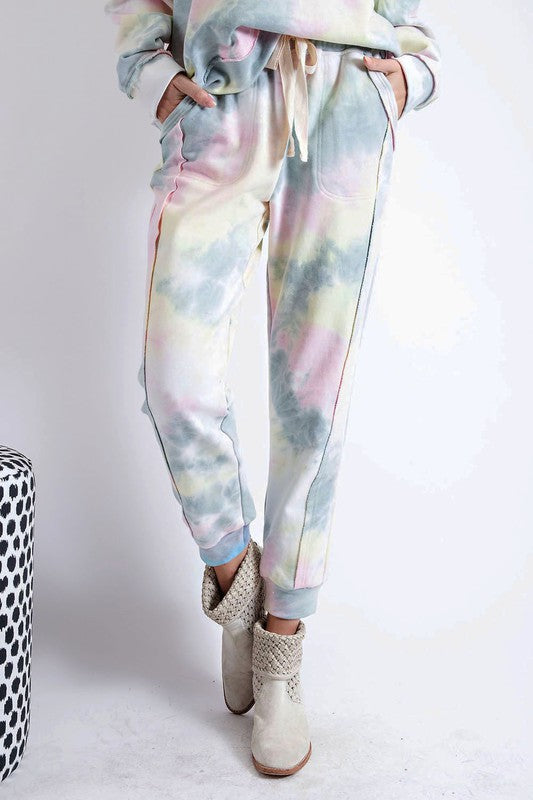 Easel Tie Dye Joggers - Sage Pink