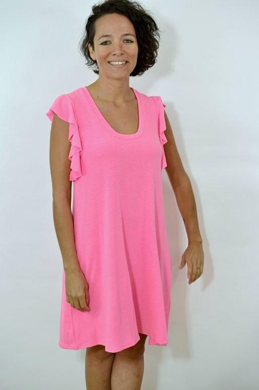 12PM by Mon Ami Ruffle Sleeves Dress - Neon Pink