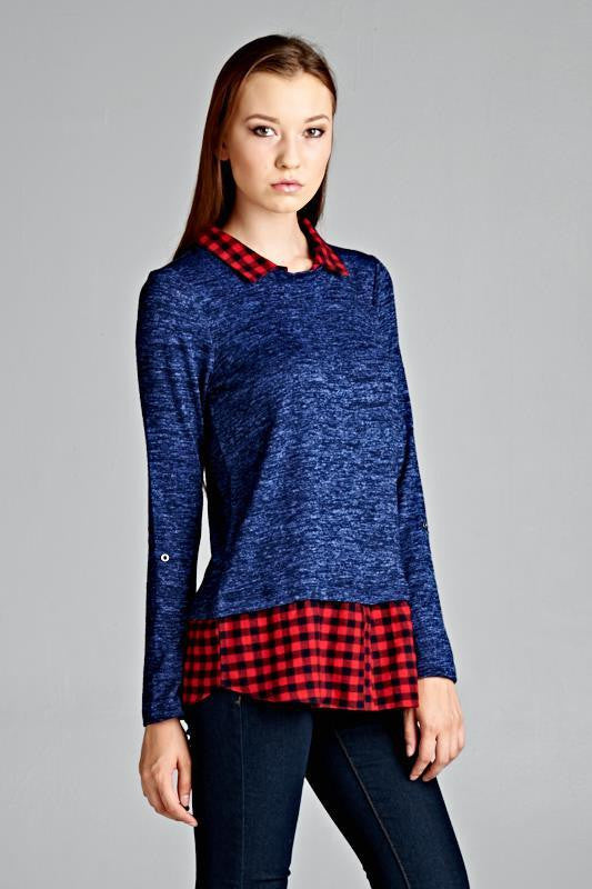 Staccato Plaid Contrast Hem and Neck Loose Top - Blue/Red - Debra's Passion Boutique - 2