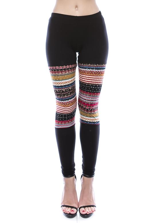 Vocal Lightweight Leggings with Stones - Red Black