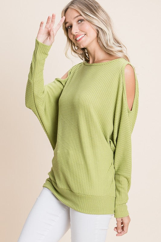 Kiwi Dolman Cold Shoulder Top