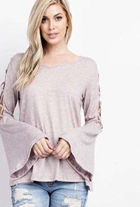 143 Two Tone Brushed Knit Top - Mauve
