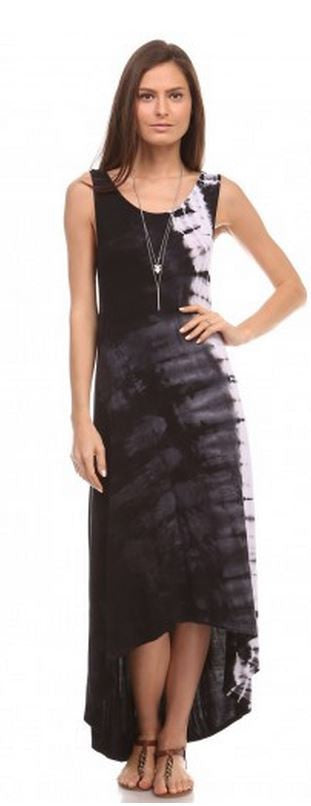 Urban X Hand Tie Dye X Back Hi Lo Maxi Dress- Black