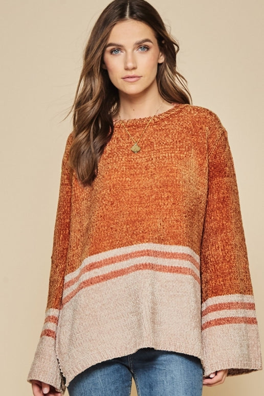 Andree by Unit Pullover Color Block Sweater - Rust