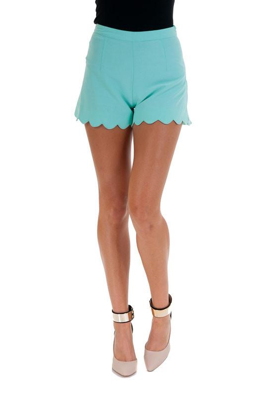 Make It A Mint Julep Scallop Hem Shorts-Mint - Debra's Passion Boutique - 1