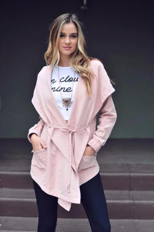 Shawl Collar Cargo Windbreaker Light Jacket - Dusty Pink - Debra's Passion Boutique - 1