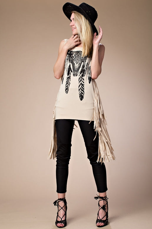 Vocal Cow Skull Stones Fringe Top - Taupe