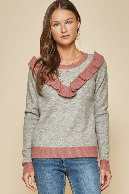 Andree by Unit Pullover Sweater - Heather Grey
