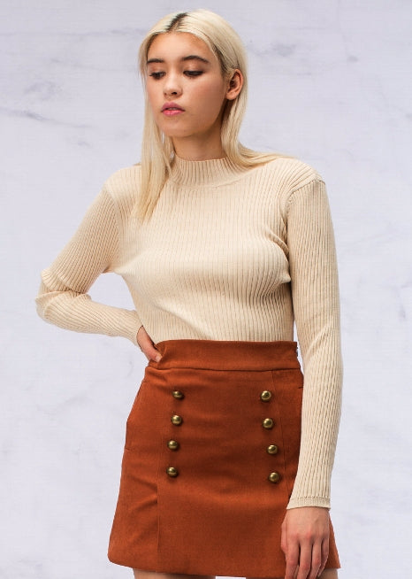 Red Squirrel Tail Gold Button Faux Suede Skirt