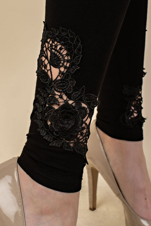 Vocal Flower Leaf Lace Leggings - Black
