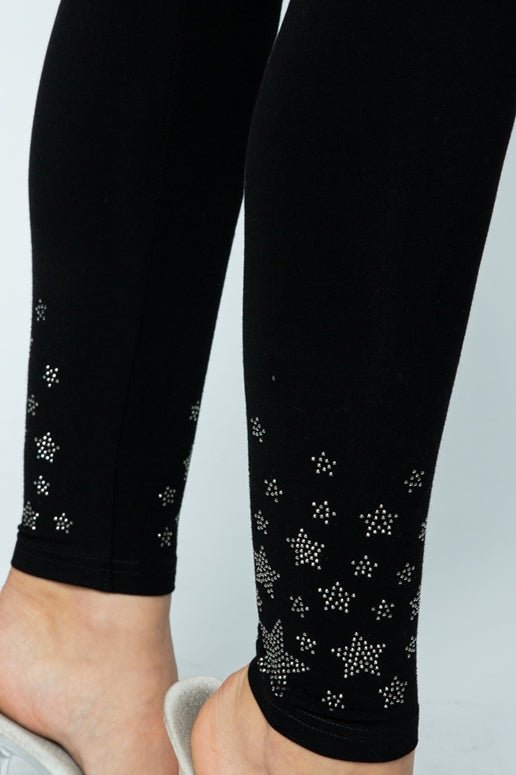 Vocal Rhinestone Stars Leggings - Black