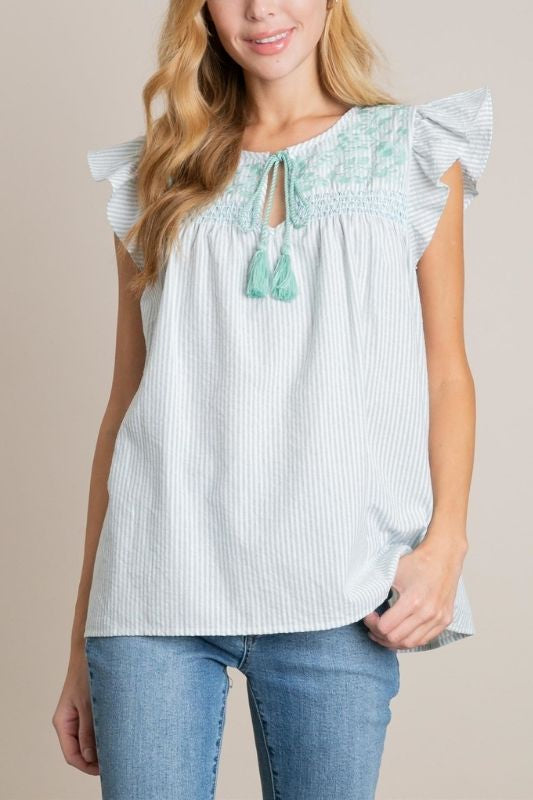 L Love Pinstripe Blouse - Mint