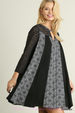 Umgee Lace Sleeve Moroccan Print Swing Dress - Black