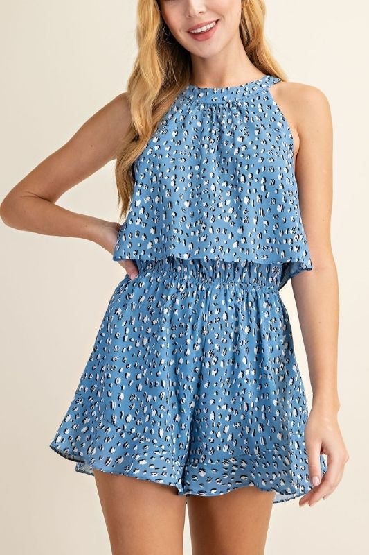 L Love Halter Neck Romper - Blue