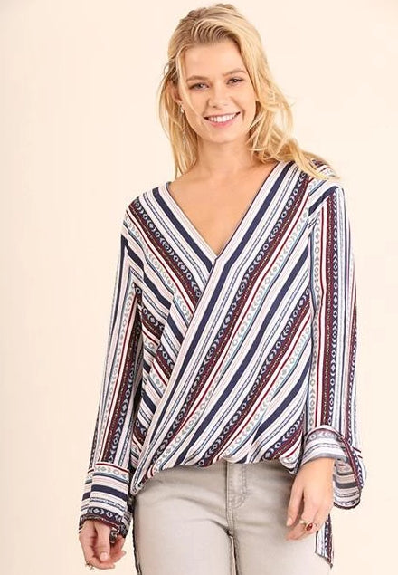 Umgee Stripes Printed Surplice Blouse - Blue Mix