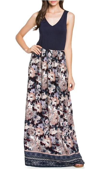 Doe & Rae Floral Print Maxi Dress - Navy