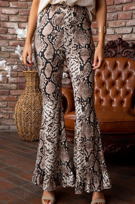 Carolina Ruffle Snakeskin Pants