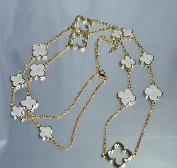 "Clovers Chain 36"" Long Necklace - Ivory/Gold - Debra's Passion Boutique - 1"