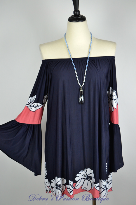 Down by the Floral Border Tunic - Navy