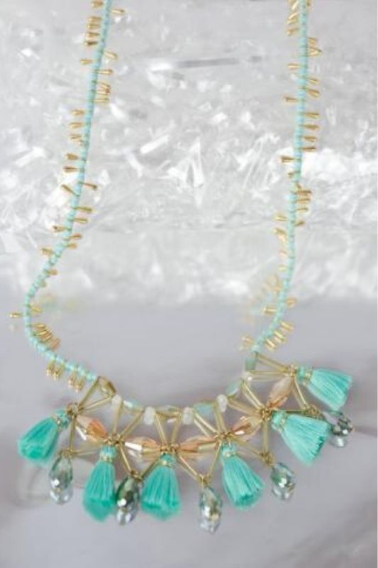KHLoE Tassels & Facet Beaded Necklace - Mint