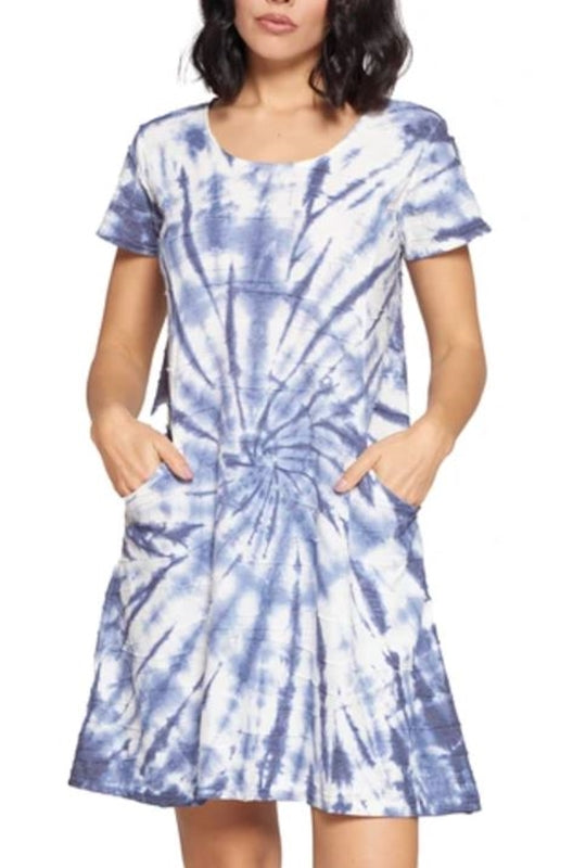 Tie Dye Textured Fabric Dress - Blue