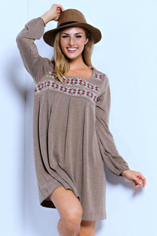 Chic Embroidery Knit Babydoll Dress - Taupe