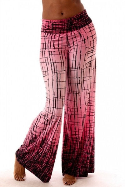 Abstract Crackle Print Palazzo Pants-Ombre Fuchsia